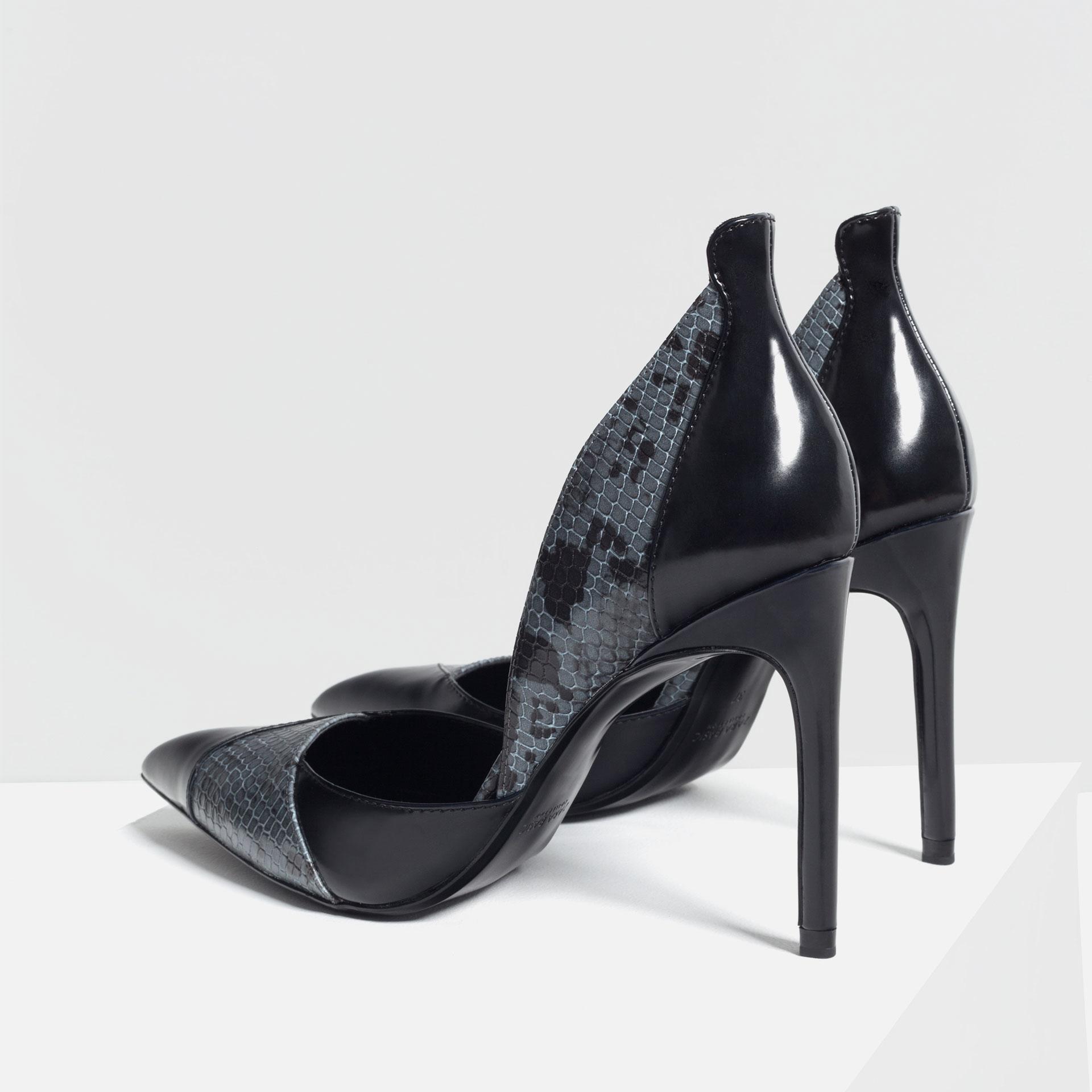 zara contrast print high heel shoes in black lyst