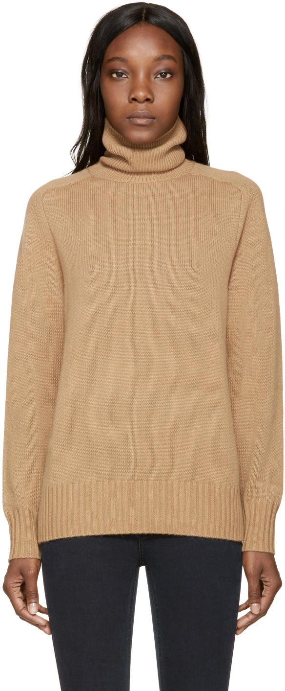 Chloé Camel Iconic Cashmere Turtleneck in Natural | Lyst