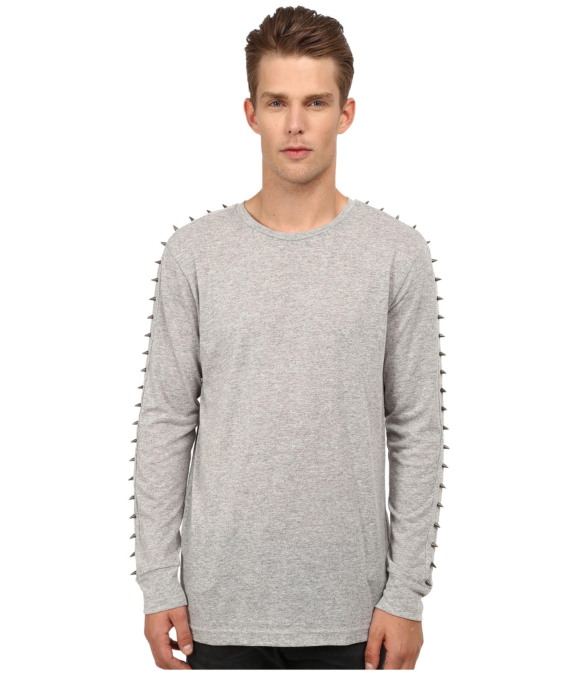 Balmain studded long sleeve t shirt in gray for men lyst for Long length long sleeve t shirts