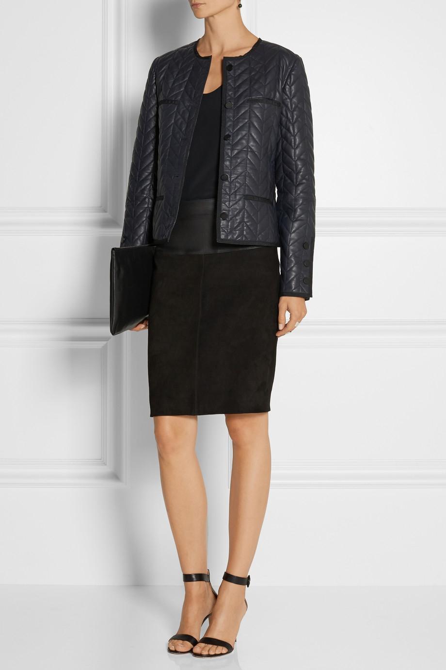 lyst day birger et mikkelsen merkez quilted leather jacket in blue. Black Bedroom Furniture Sets. Home Design Ideas