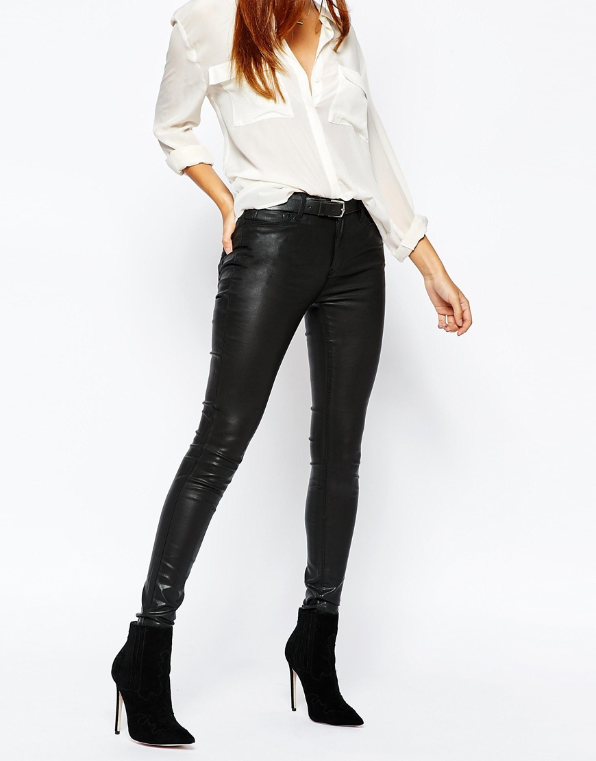 Warehouse Leather Look Coated Jeans in Black | Lyst