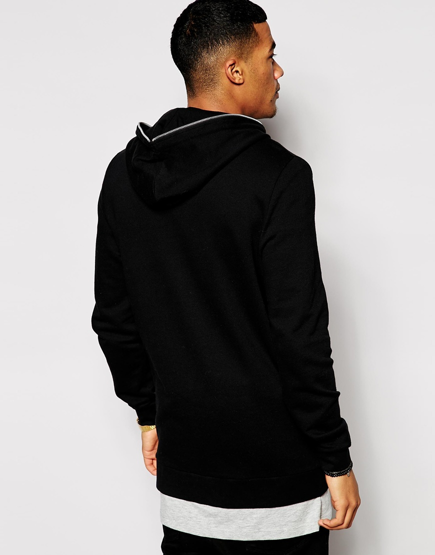 lyst asos longline zip up hoodie with zip hood in black