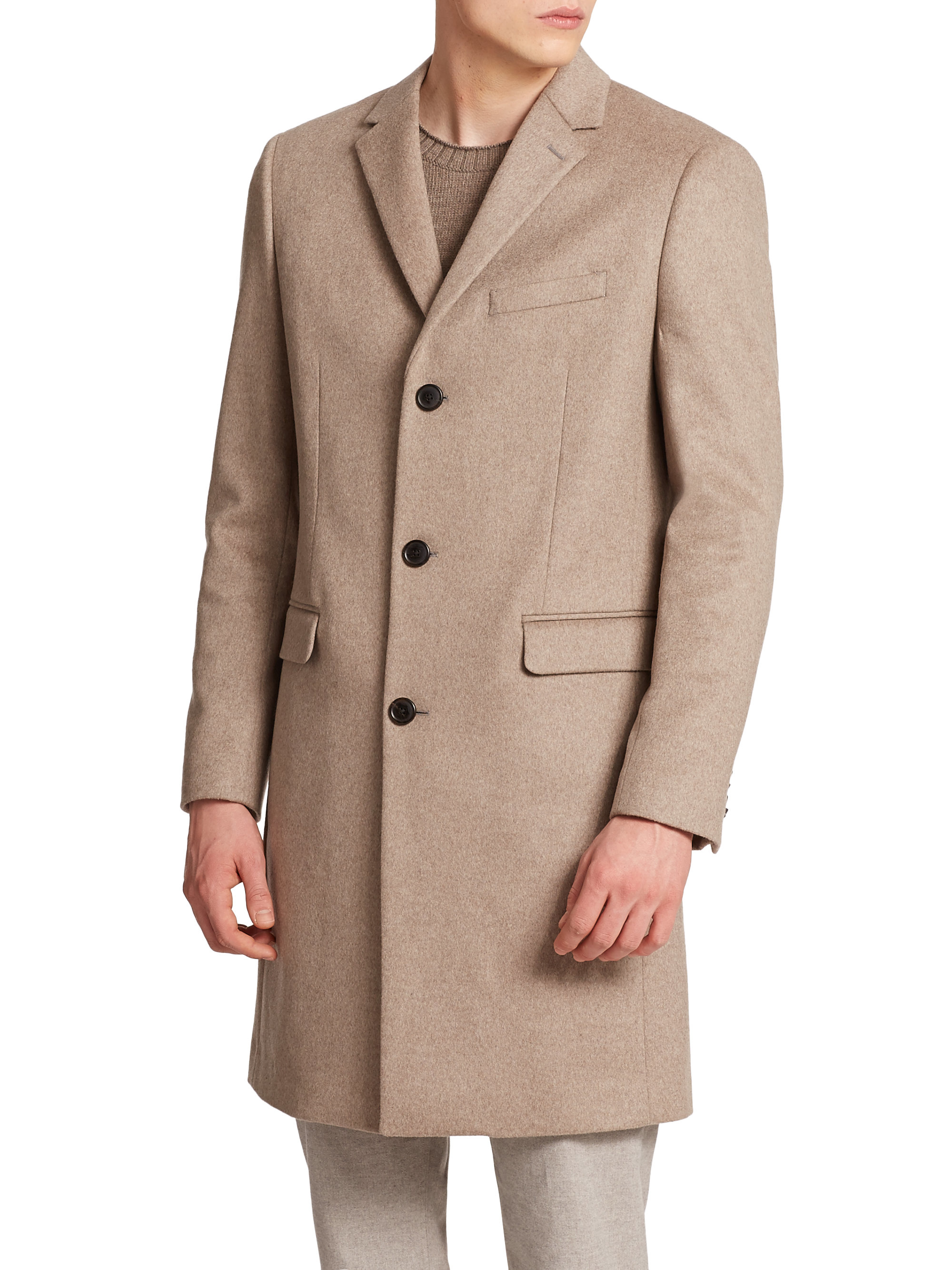 Theory Wellardon Wool & Cashmere Coat in Natural for Men | Lyst