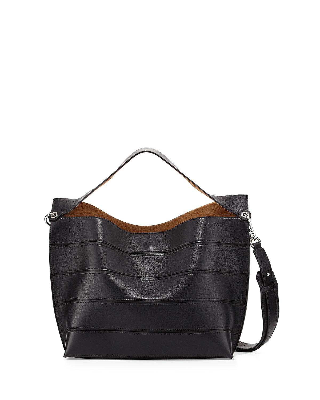 f210dbc5cd2 Lyst - Loewe Solid Striped Leather Shoulder Bag in Black