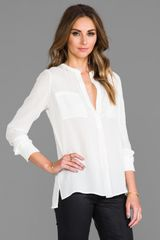 Vince Welt Pocket Blouse in White