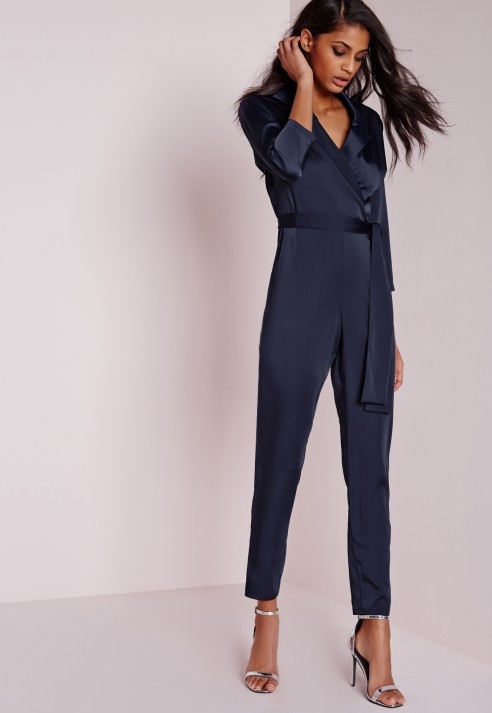 471ac3513ff1 Lyst - Missguided Silky Wrap Shirt Jumpsuit Navy in Blue