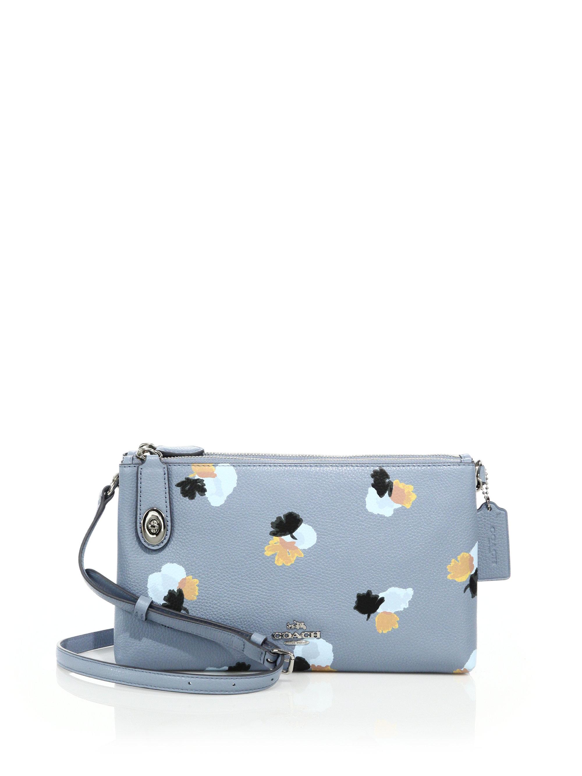 ... norway lyst coach crosby floral print leather crossbody bag in blue  4e994 f624a 645ab57687794