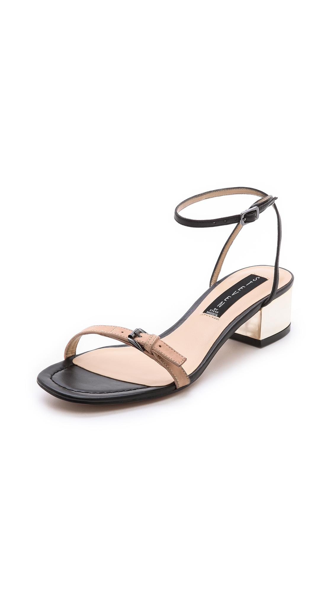 ee4df0ed976 Steven by Steve Madden Linda Low Heel Sandals in Black - Lyst