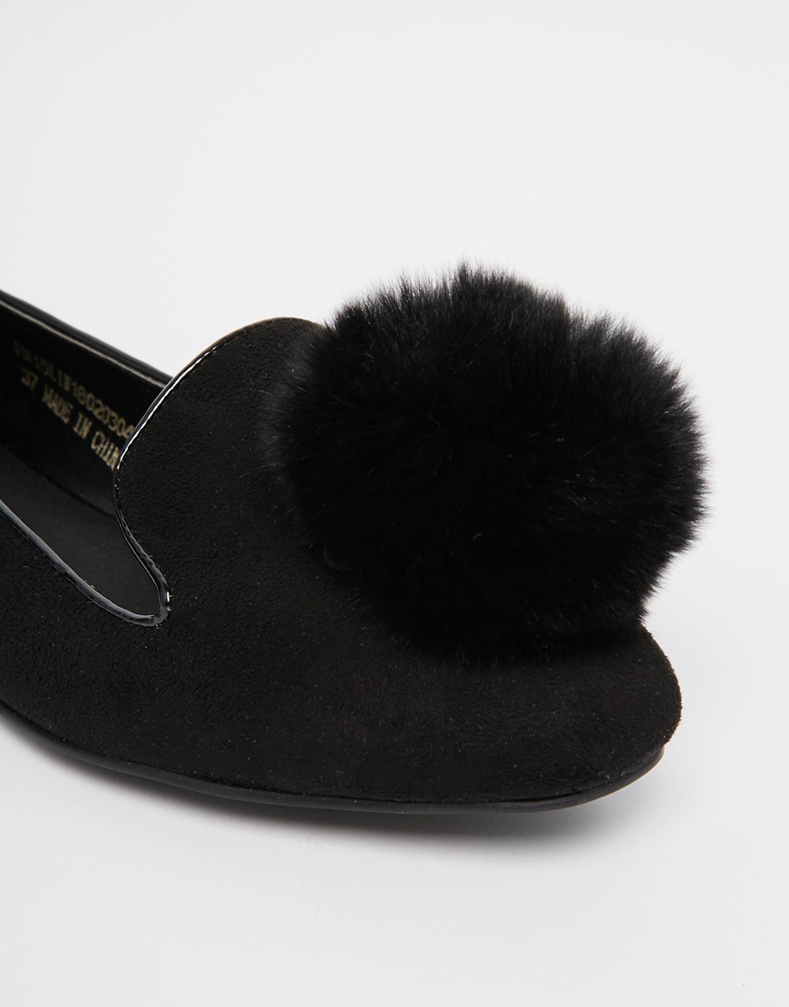 Lyst Lost Ink Pom Pom Flat Shoes In Black