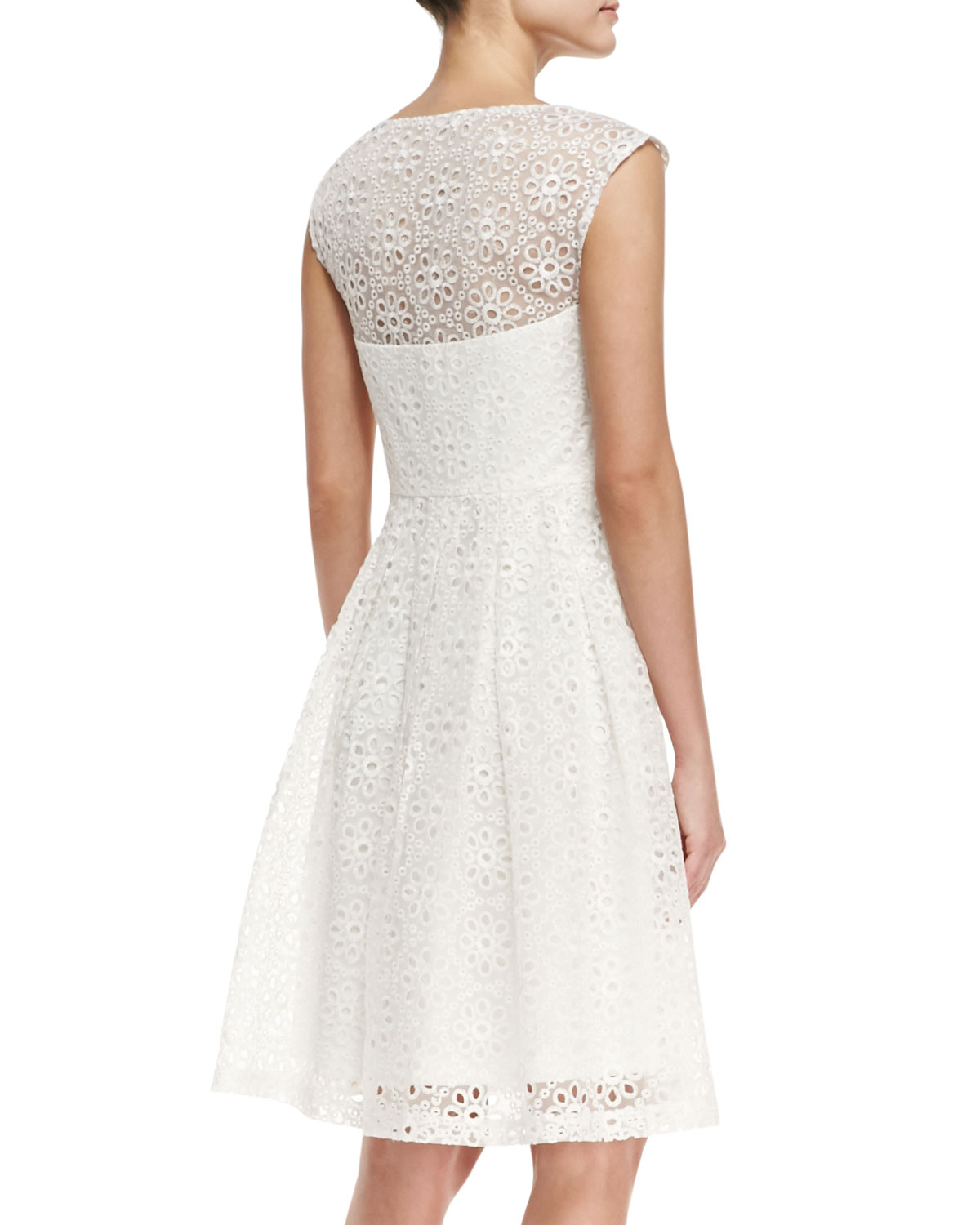 e903c180d99 Lyst - Sue Wong Cap-sleeve Eyelet Fit-and-flare Cocktail Dress in White