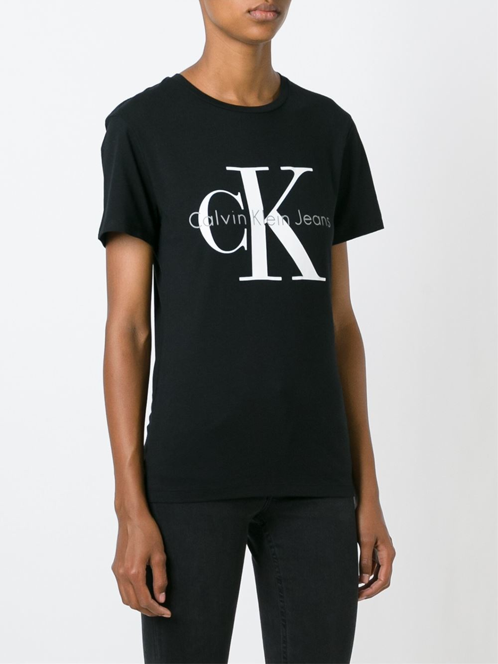 calvin klein jeans logo print t shirt in black for men lyst. Black Bedroom Furniture Sets. Home Design Ideas