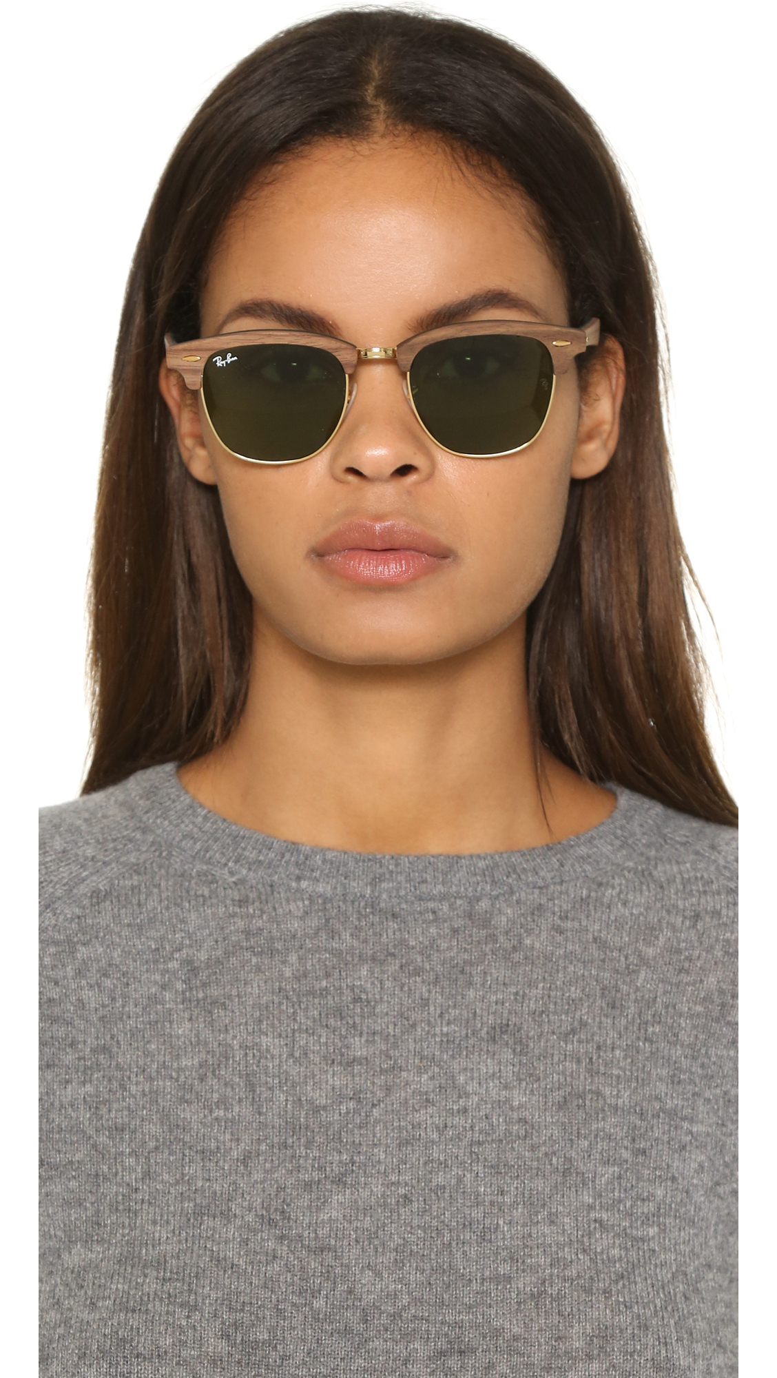 d2e2fb093aa65 ... netherlands lyst ray ban clubmaster wood sunglasses in brown 8807a 6ea94