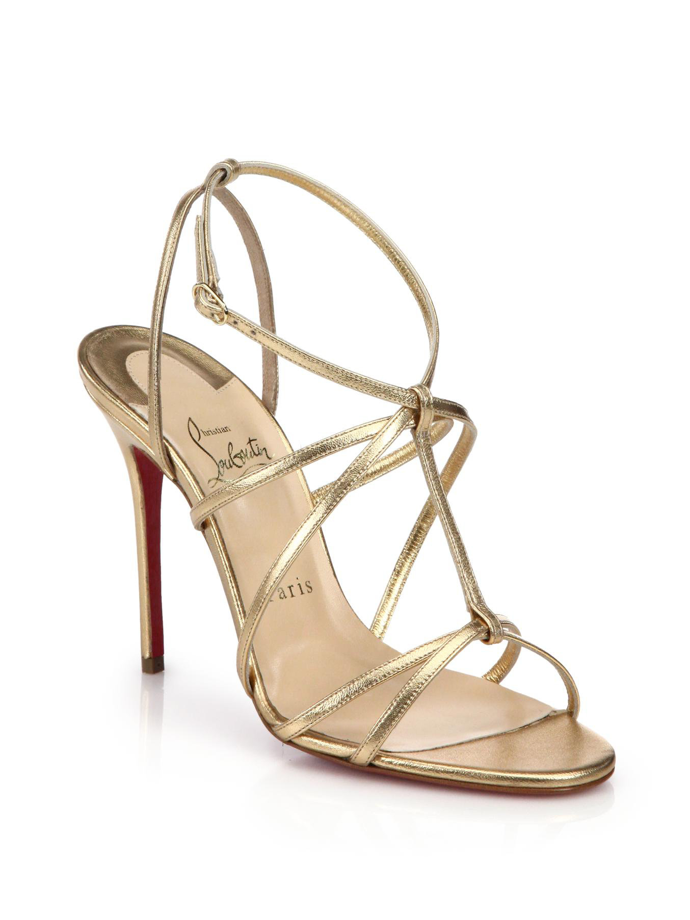 christian louboutin black and gold sandals