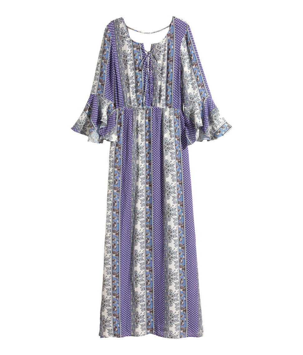H&m Patterned Maxi Dress in Blue | Lyst