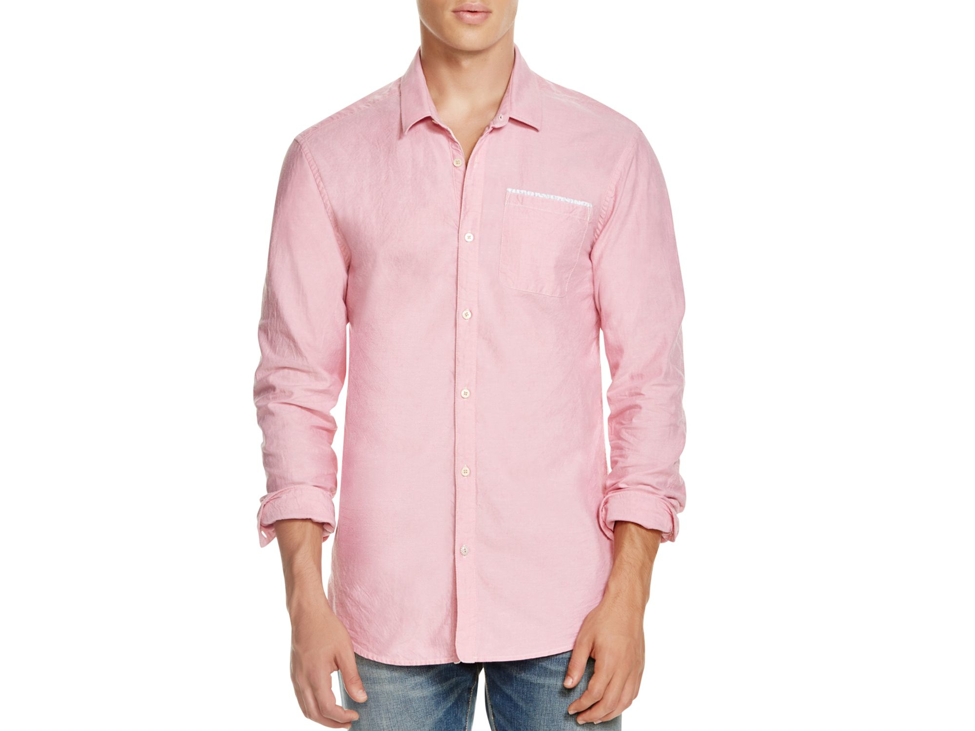 Scotch Soda Oxford Slim Fit Button Down Shirt In Pink