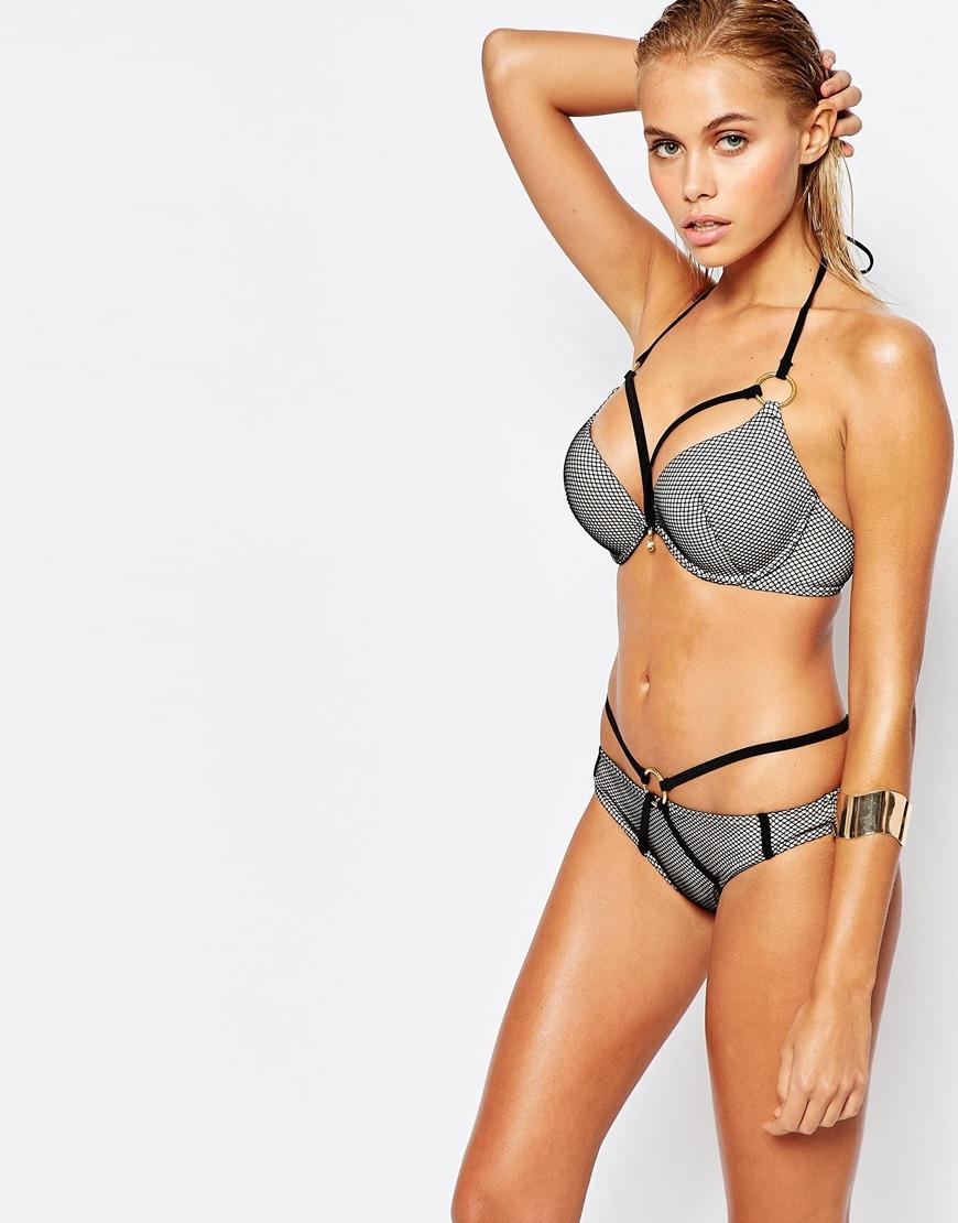 Ann summers Nn Summers Bay Boost Mesh Bikini Top in Black ...