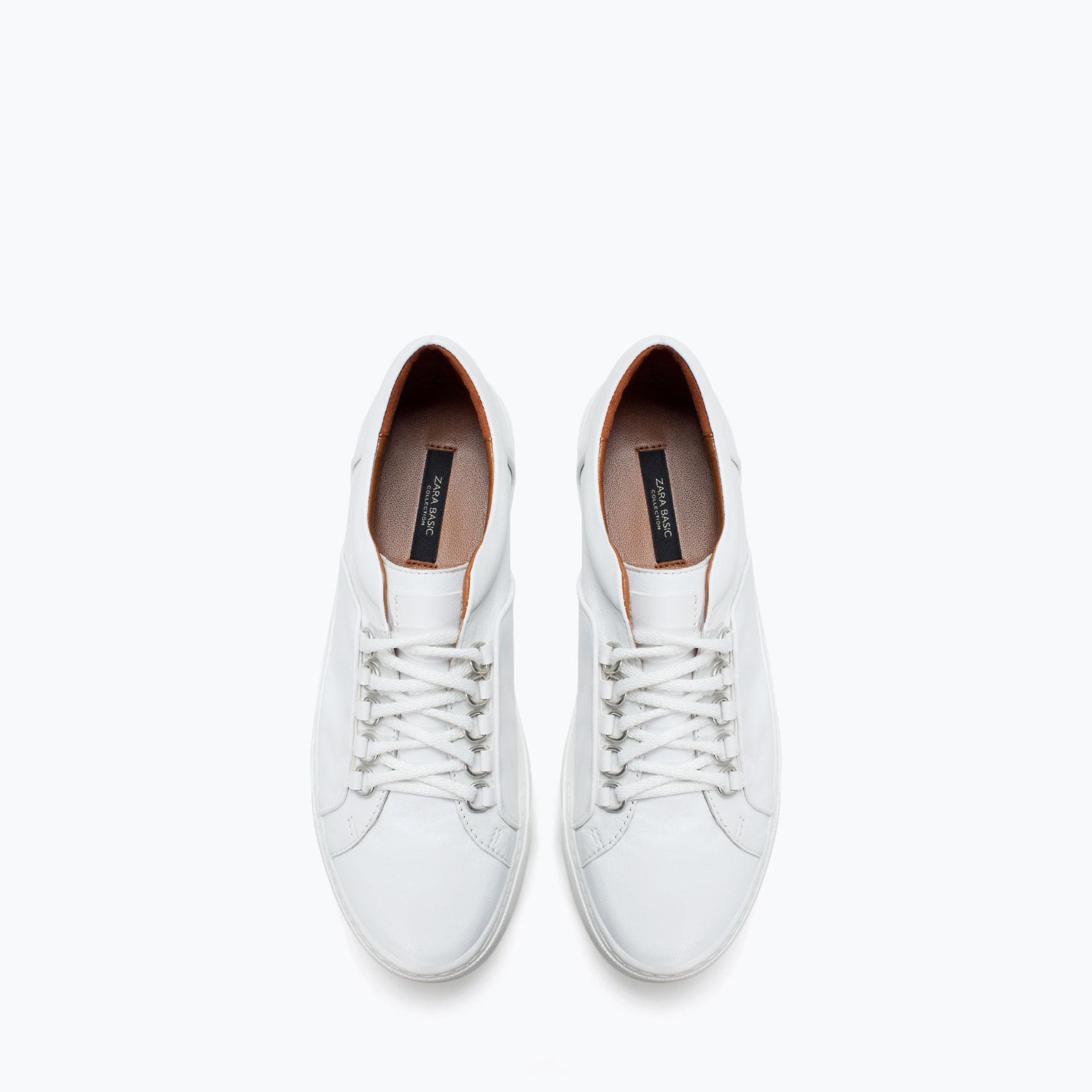 zara leather sneaker in white lyst