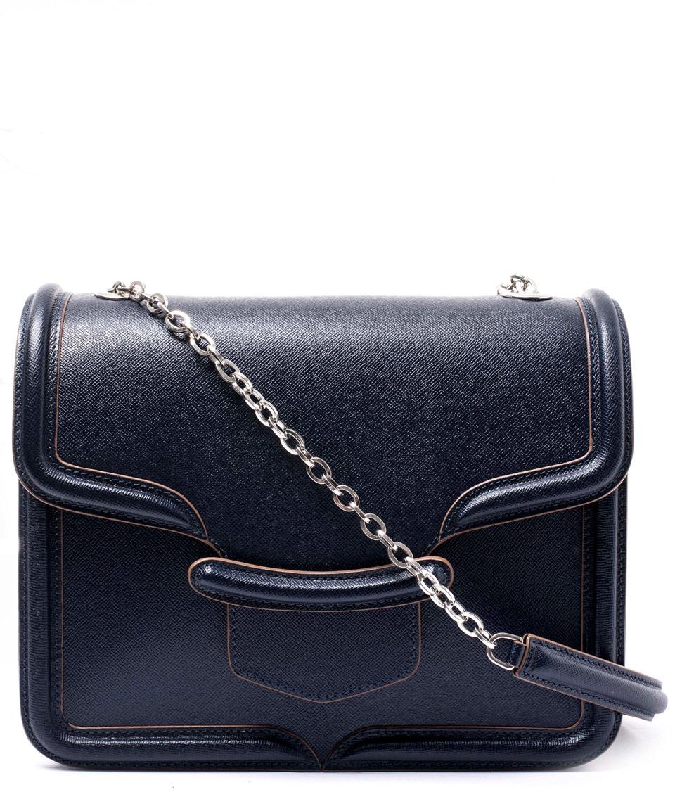 Alexander mcqueen Navy Heroine Chain Satchel Bag in Blue | Lyst