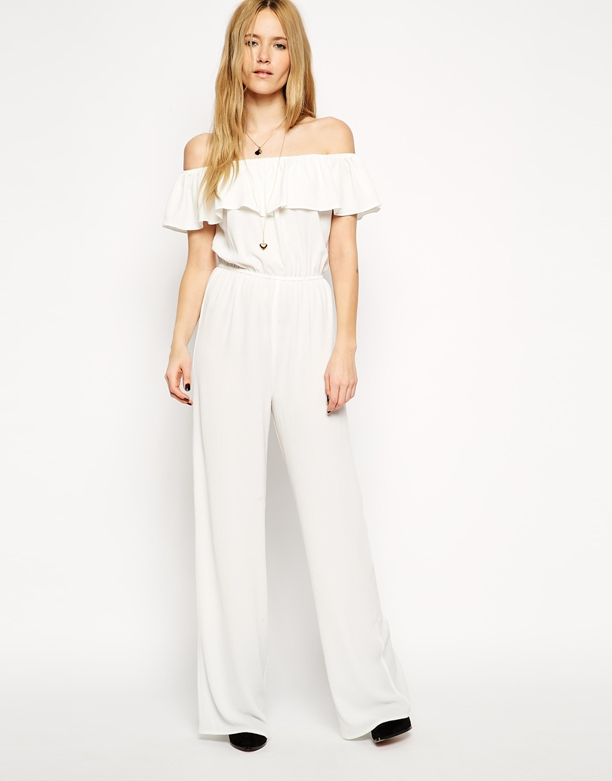 Off Shoulder White Jumpsuit