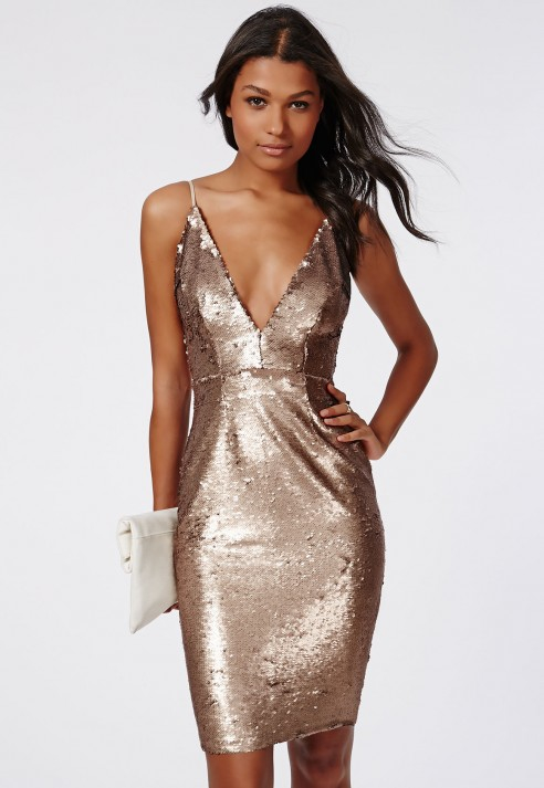 Missguided Leila Sequin Strappy Midi Dress Gold In