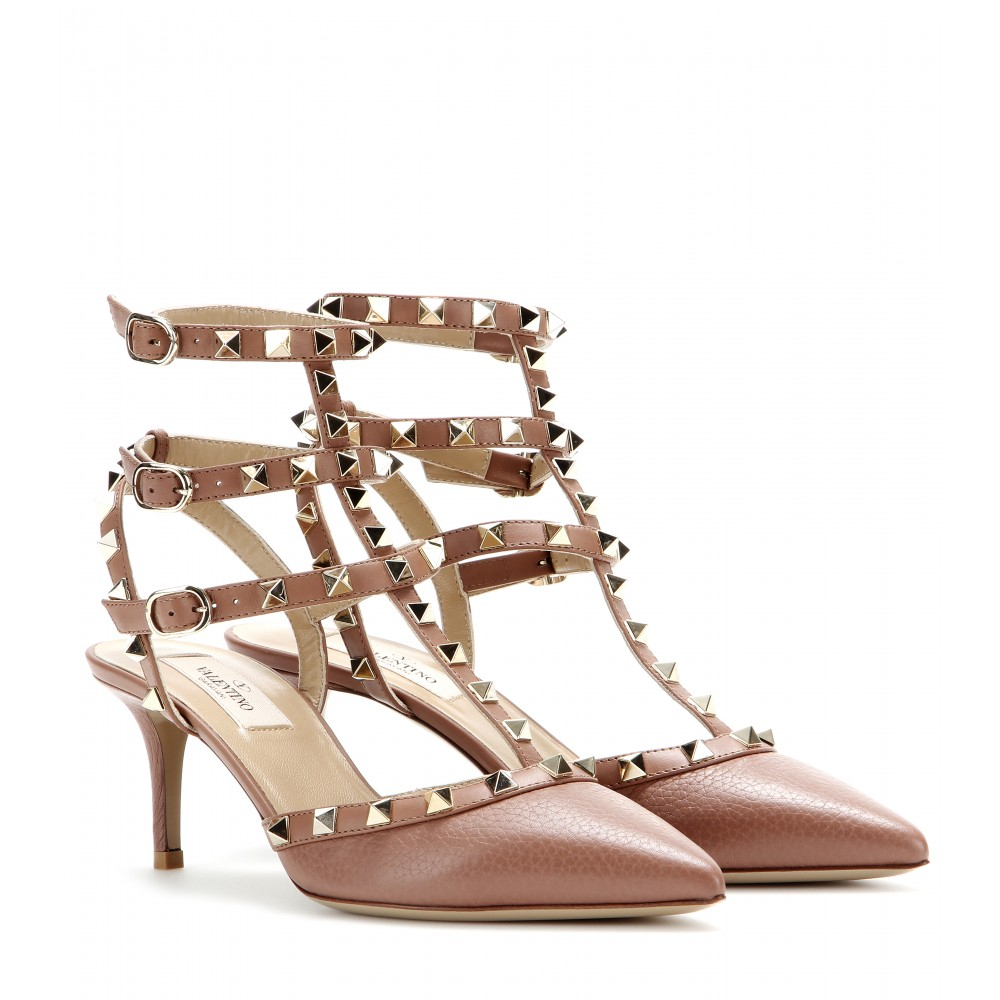 valentino rockstud leather kitten heel pumps in brown brownish lyst. Black Bedroom Furniture Sets. Home Design Ideas