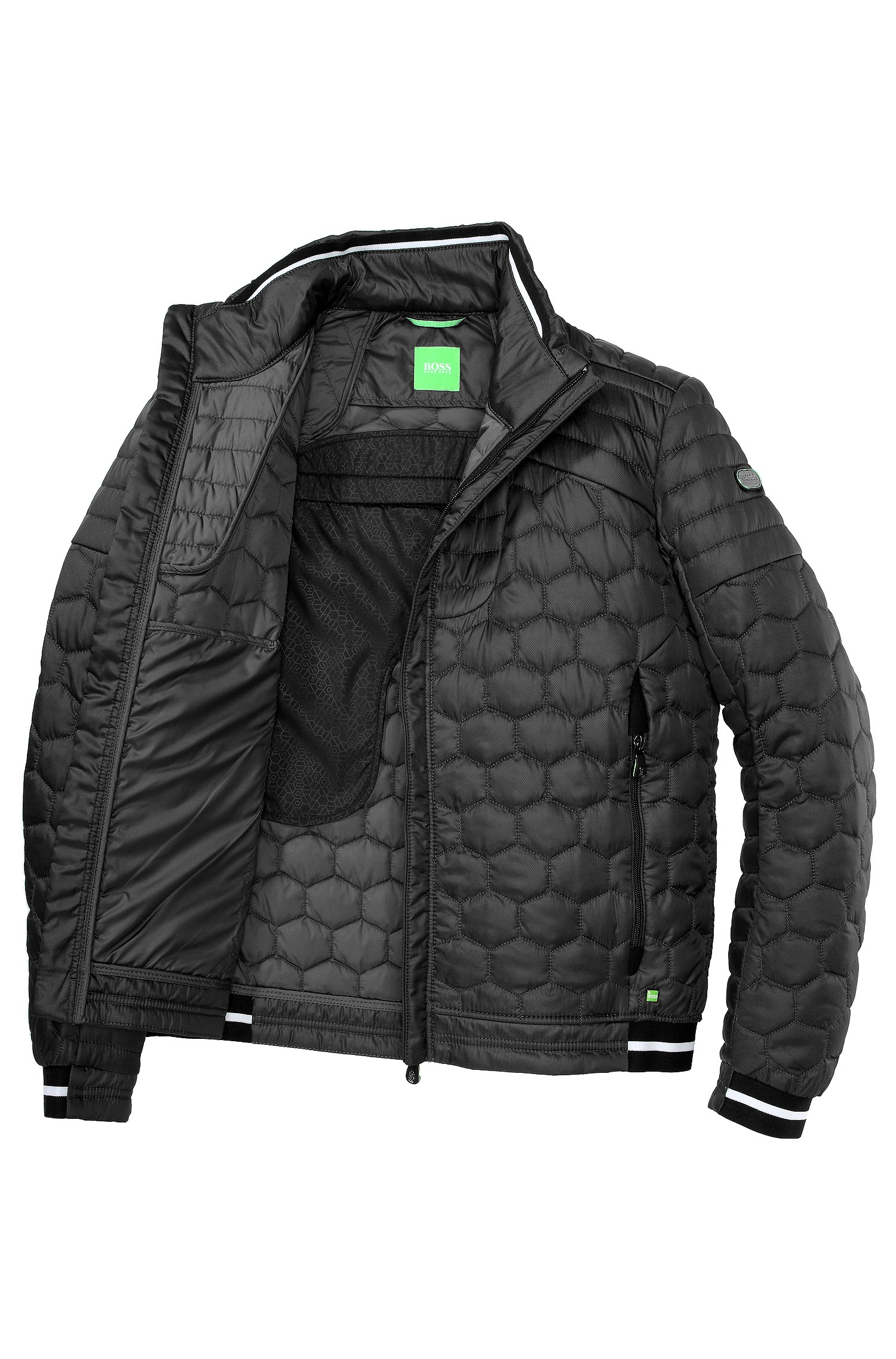 Lyst Boss Green Quilted Jacket Jerimi With A