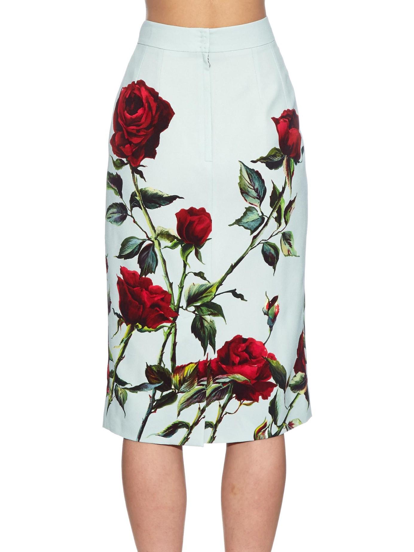 d4071ba7a Dolce & Gabbana Rose-Print Cady Pencil Skirt in Green - Lyst