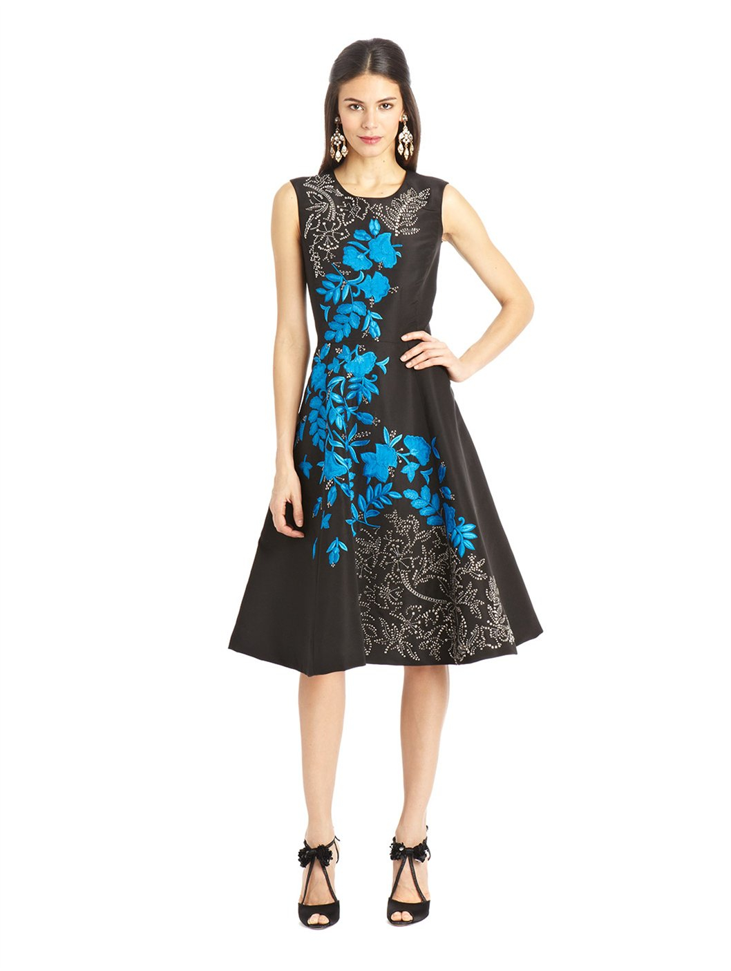 Lyst oscar de la renta floral embroidered silk faille