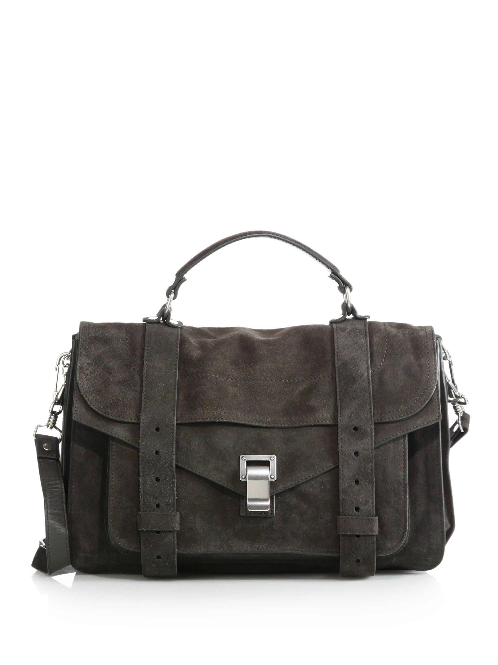 Curl Small Embellished Textured-leather And Suede Shoulder Bag - Gray Proenza Schouler N44KA5H