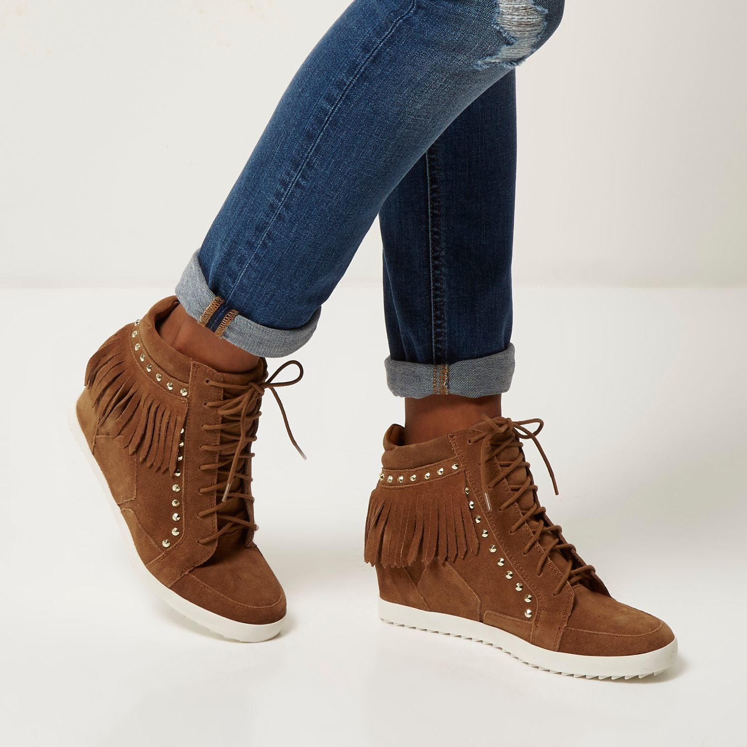 4197a80fbd67 Lyst - River Island Tan Suede Fringed High Top Wedge Trainers