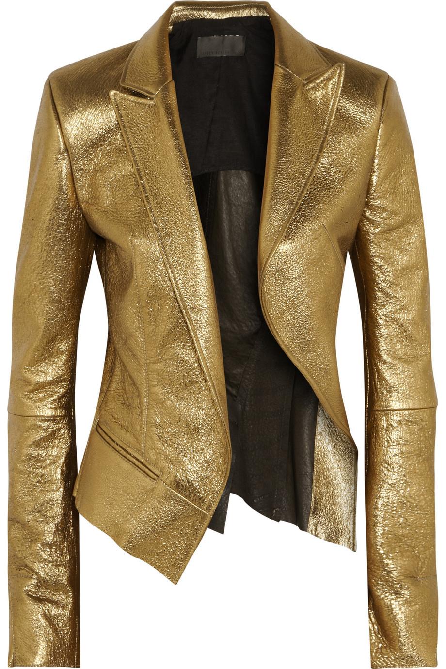 Lyst Haider Ackermann Metallic Leather Blazer In Metallic