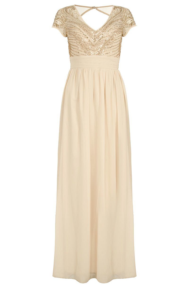 Quiz Champagne Embellished Maxi Dress In Metallic Lyst