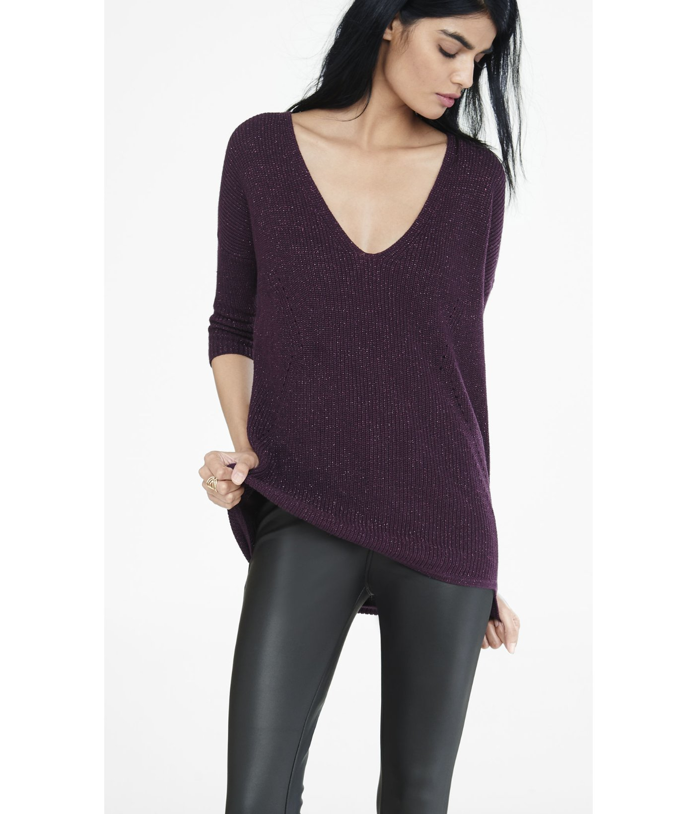 Express Currant Metallic London Tunic Sweater in Purple | Lyst