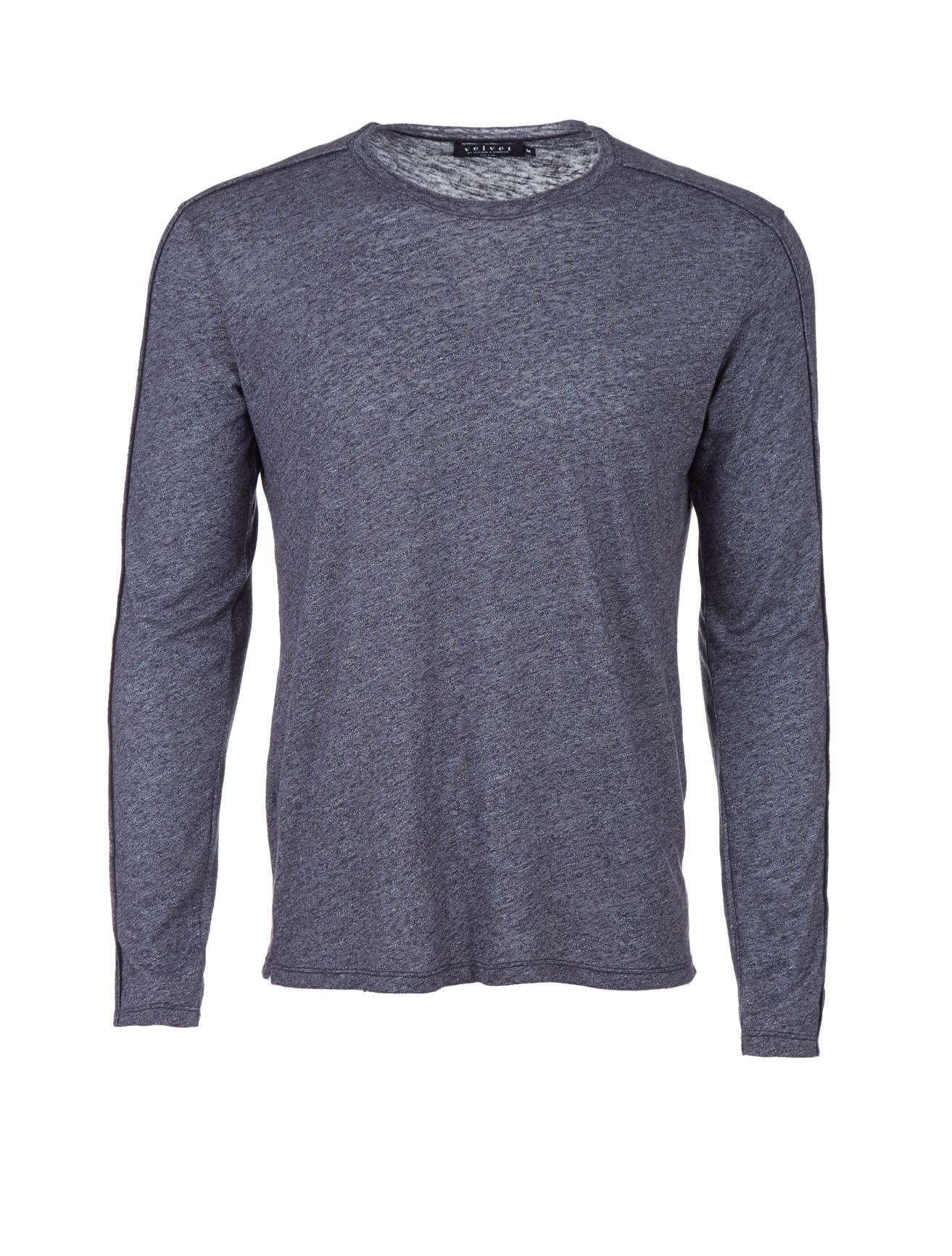Velvet long sleeve slub knit shirt in gray for men slate for What is a slub shirt
