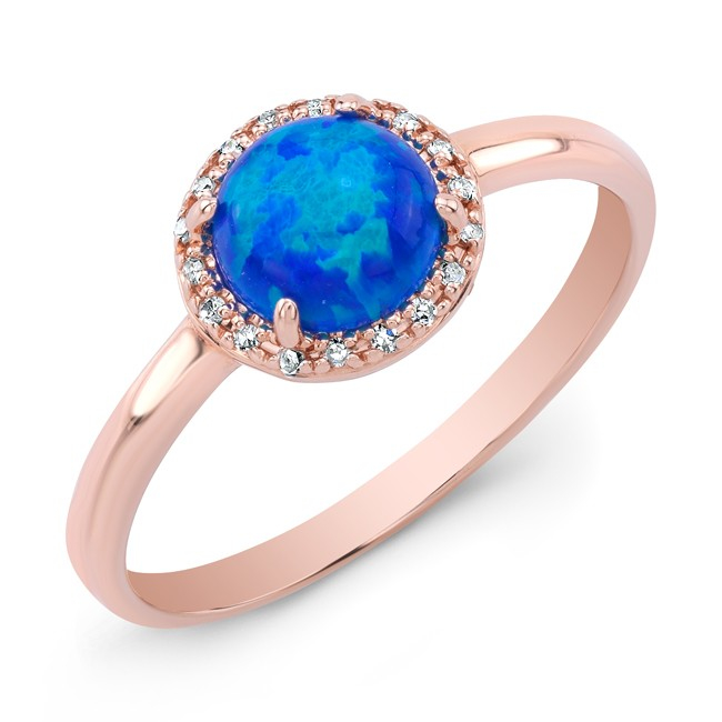 Anne Sisteron 14kt Rose Gold Opal Diamond Solitaire Ring