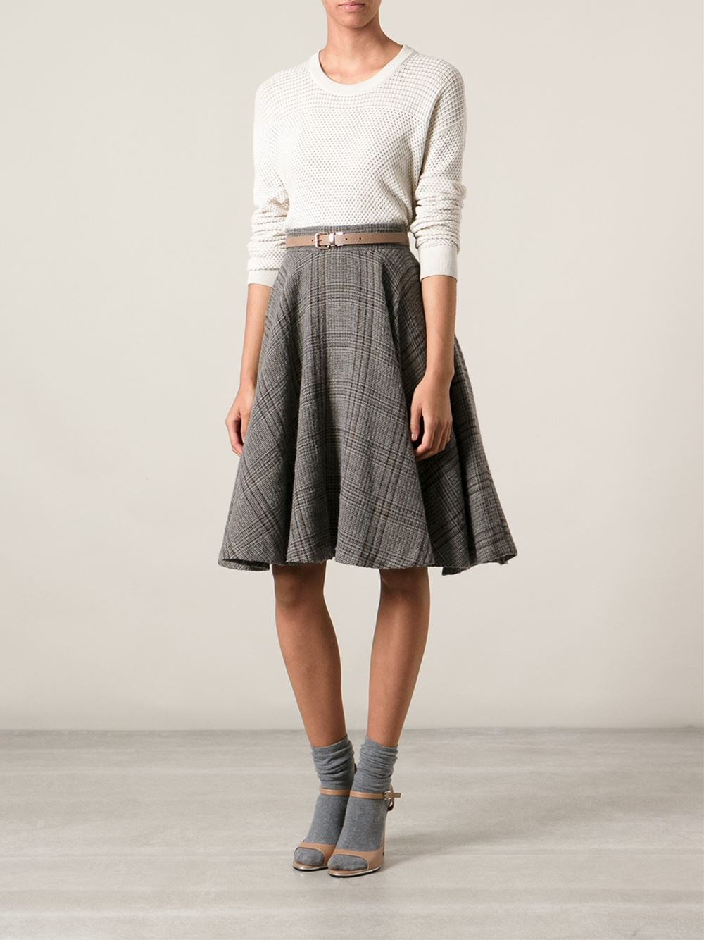 Erika cavallini semi couture A-Line Plaid Skirt in Gray | Lyst