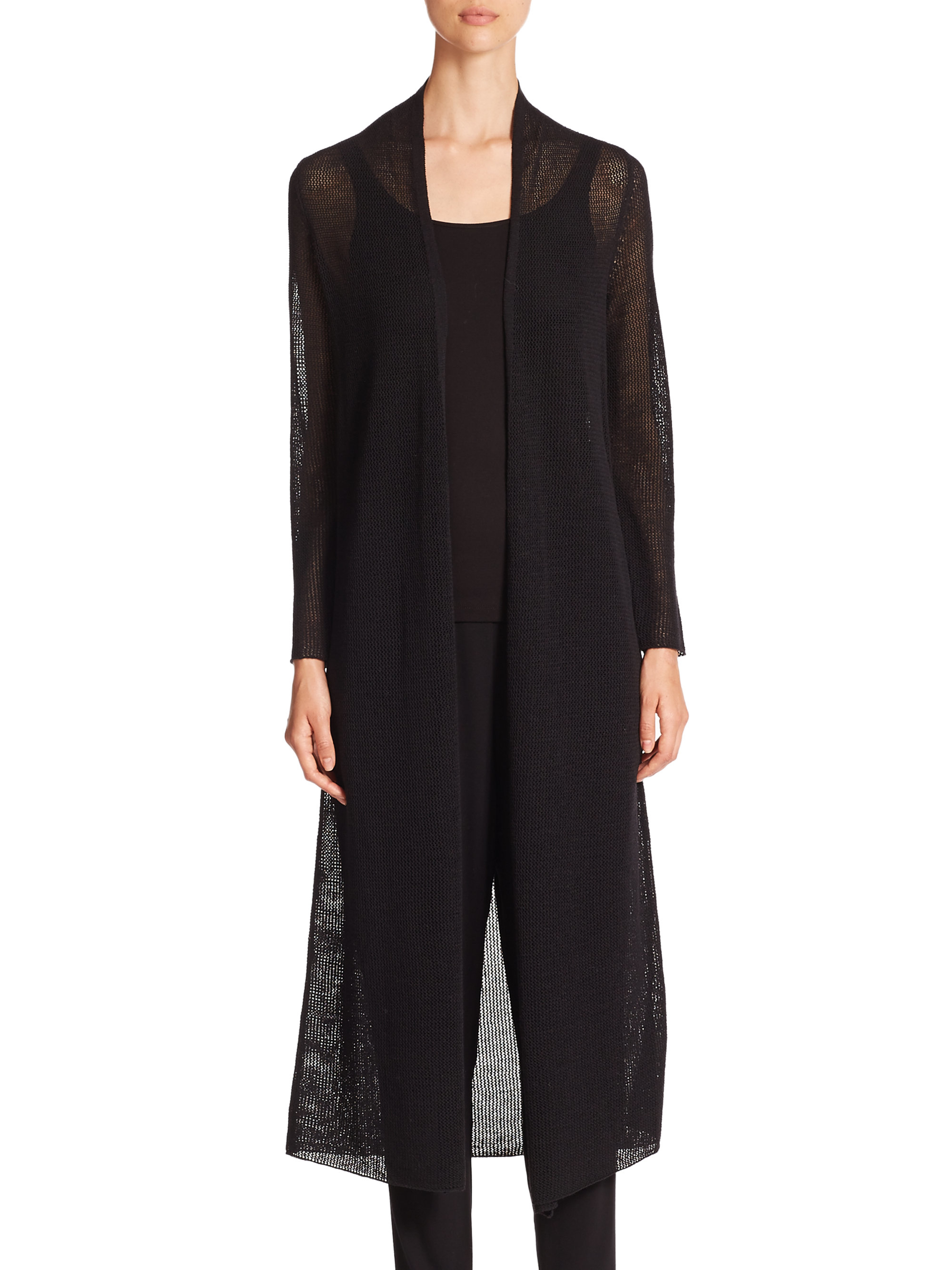 Eileen fisher Long Open-stitch Wool Cardigan in Black | Lyst