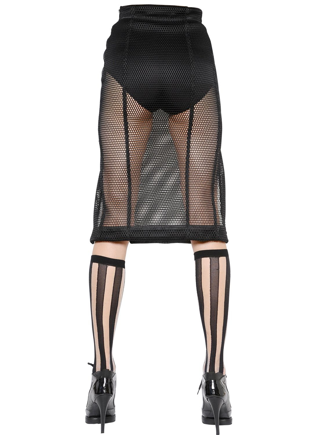 Ktz High Waisted Mesh Skirt in Black | Lyst