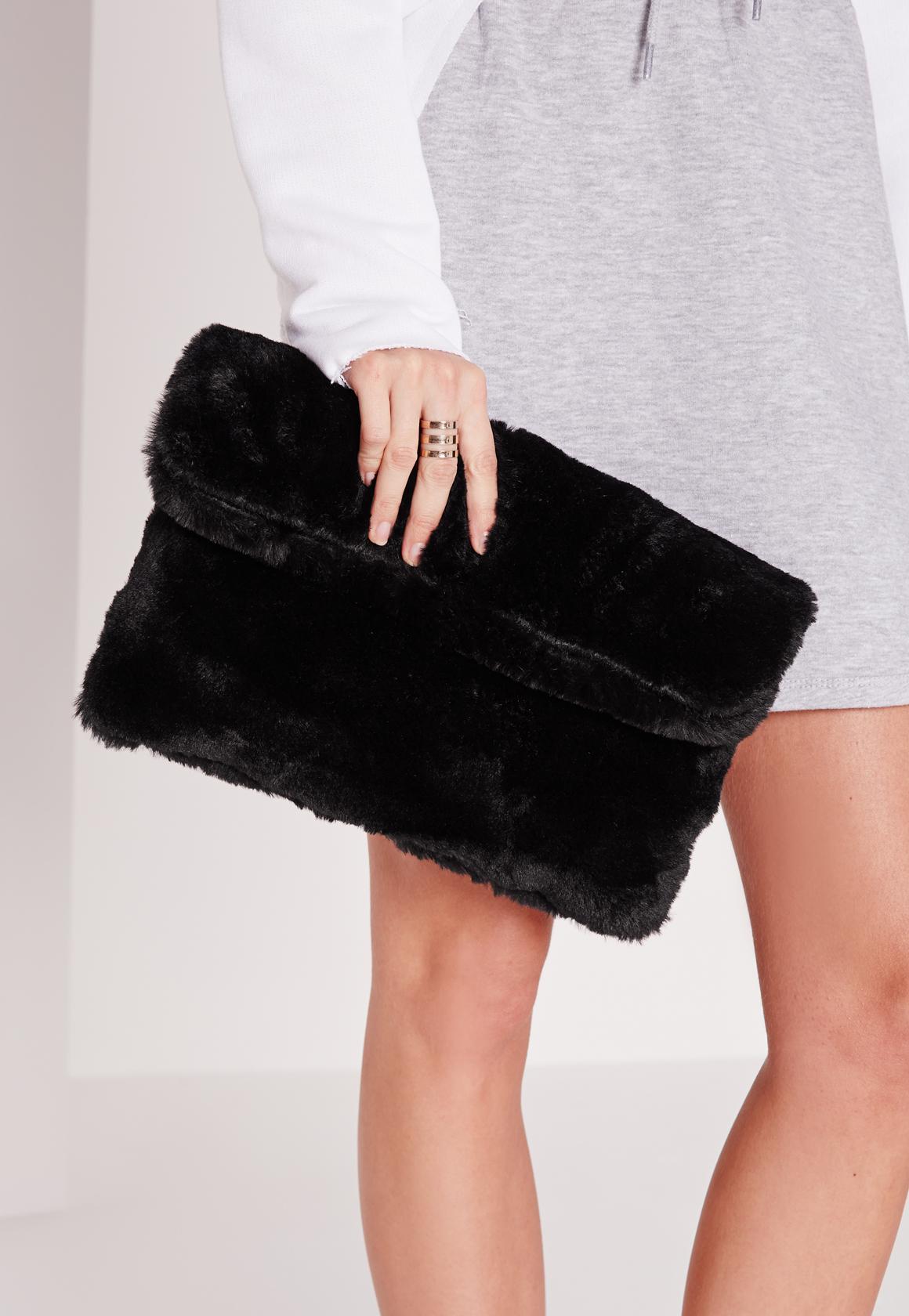 60dfac15c6 Lyst - Missguided Fold Over Fur Clutch Bag Black  in Black