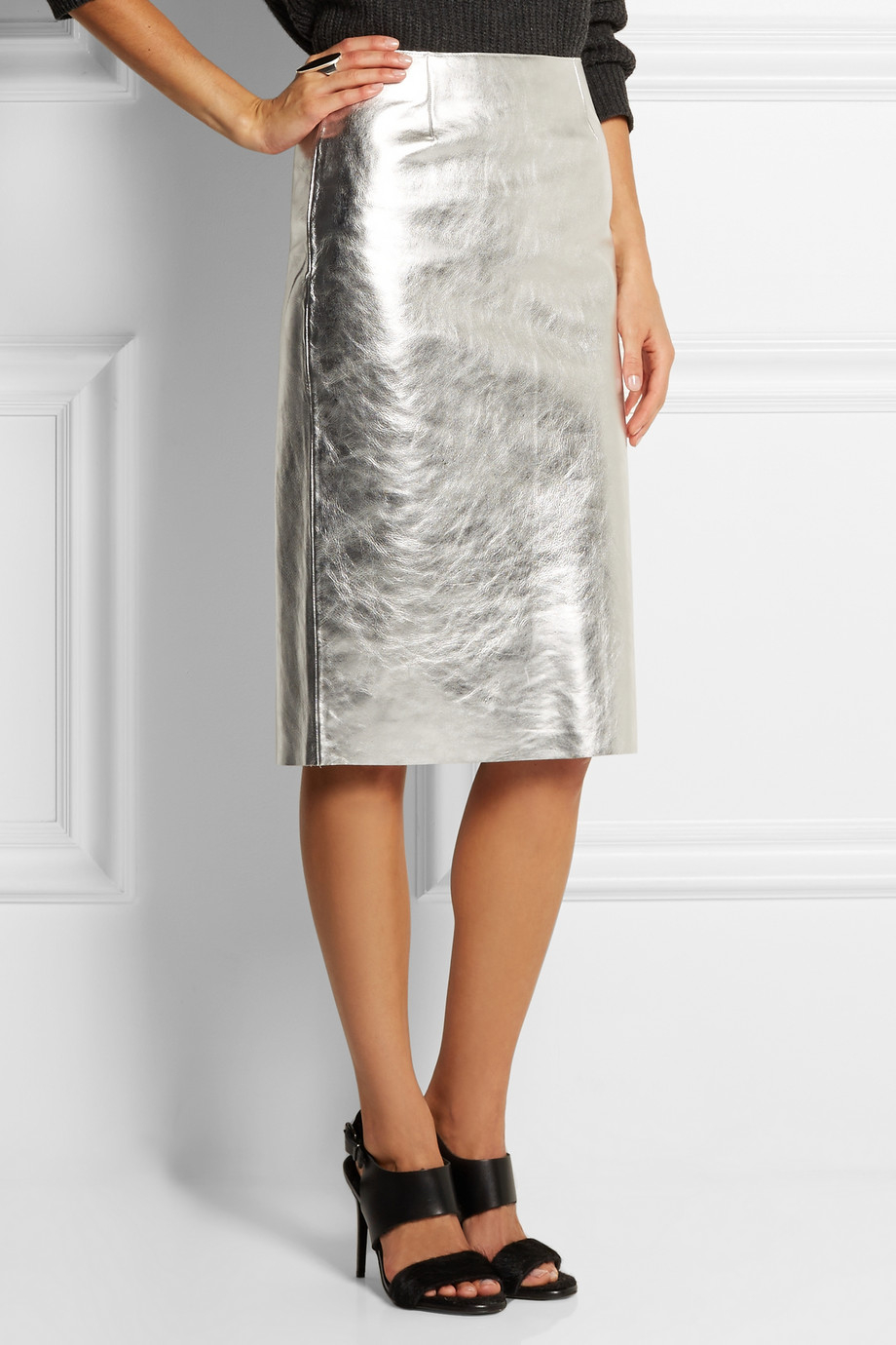 Maje Gallium Metallic Leather Pencil Skirt in Metallic | Lyst