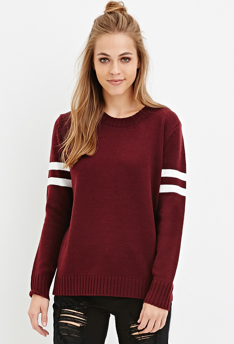 Forever 21 Varsity-striped Sweater in Purple | Lyst