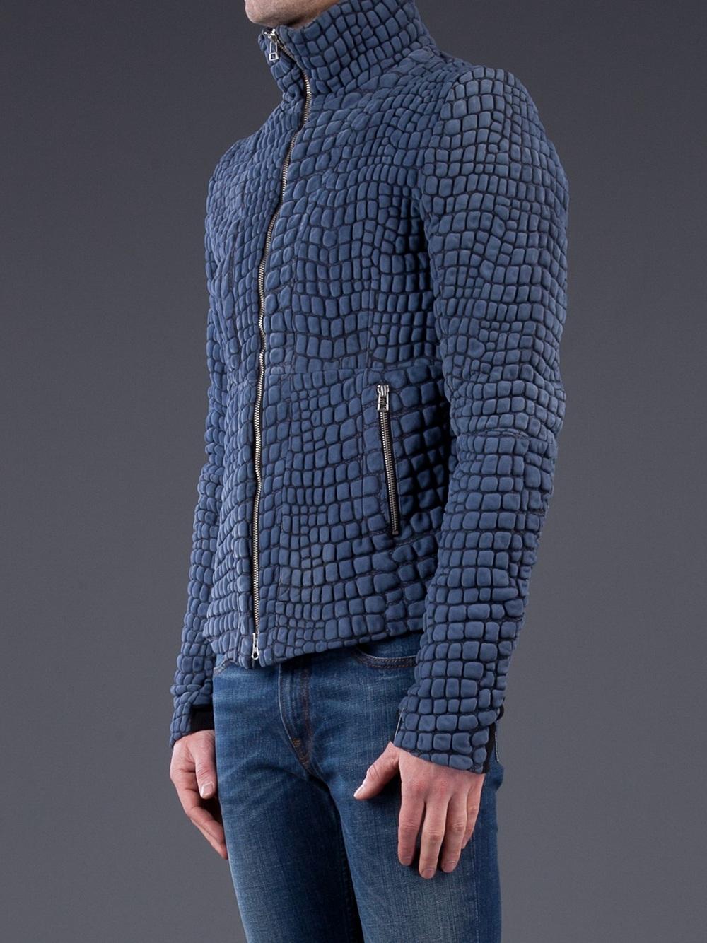 Unconditional Snake Skin Jacket In Blue For Men Lyst