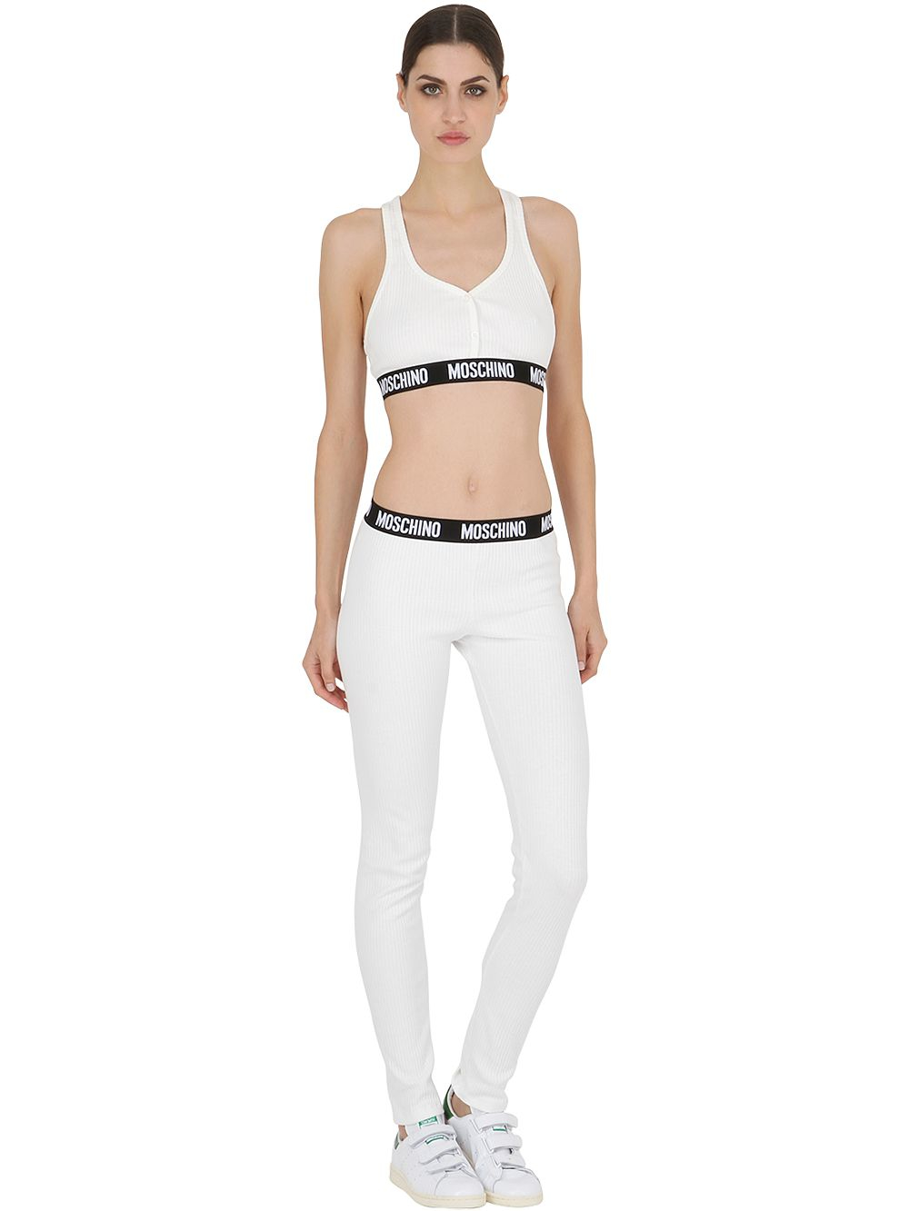 dac27514c709f Moschino Ribbed Cotton Crop Top in White - Lyst