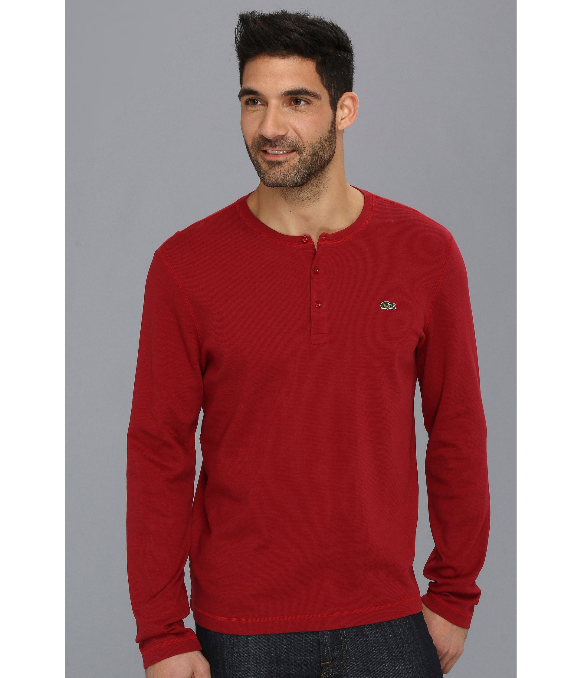 Lyst - Lacoste Long Sleeve Waffle Henley Tshirt in Red for Men