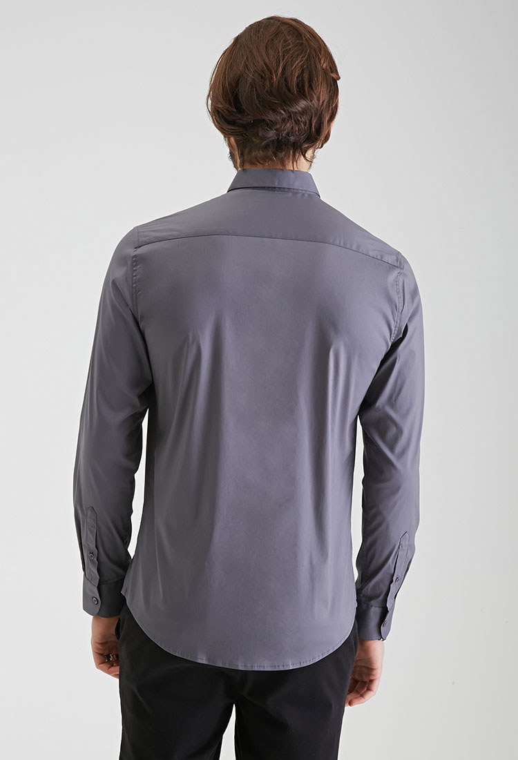 Lyst forever 21 round collar button down shirt in gray for Round collar shirt men