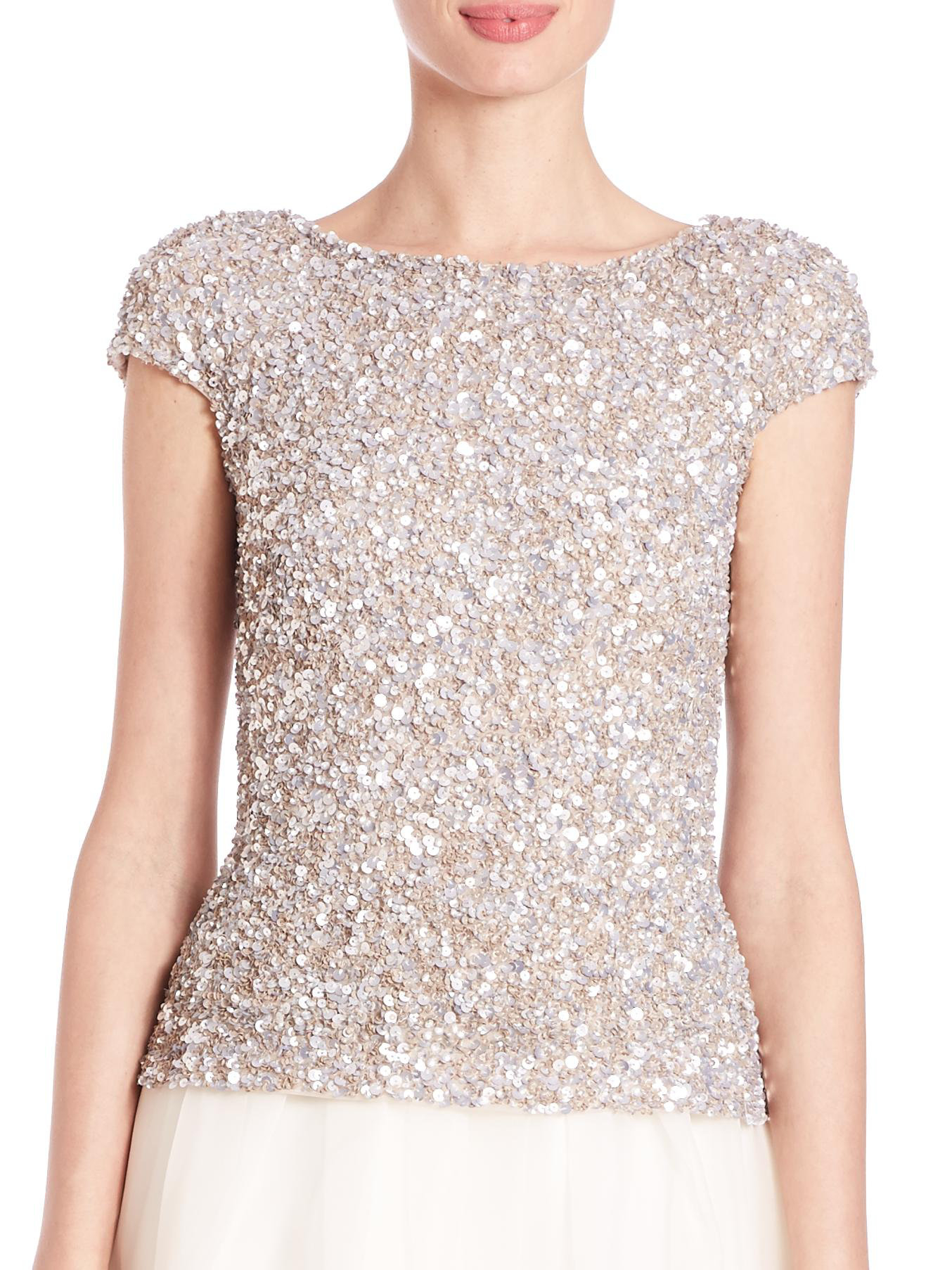 Top Women S Fashion Magazines: Theia Cap-sleeve Crunchy Sequin Top In Metallic