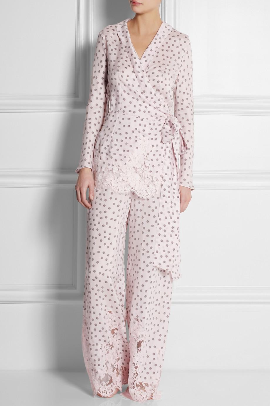 Rosamosario Dots and Lots Lacetrimmed Polkadot Silk Pajama Pants ...