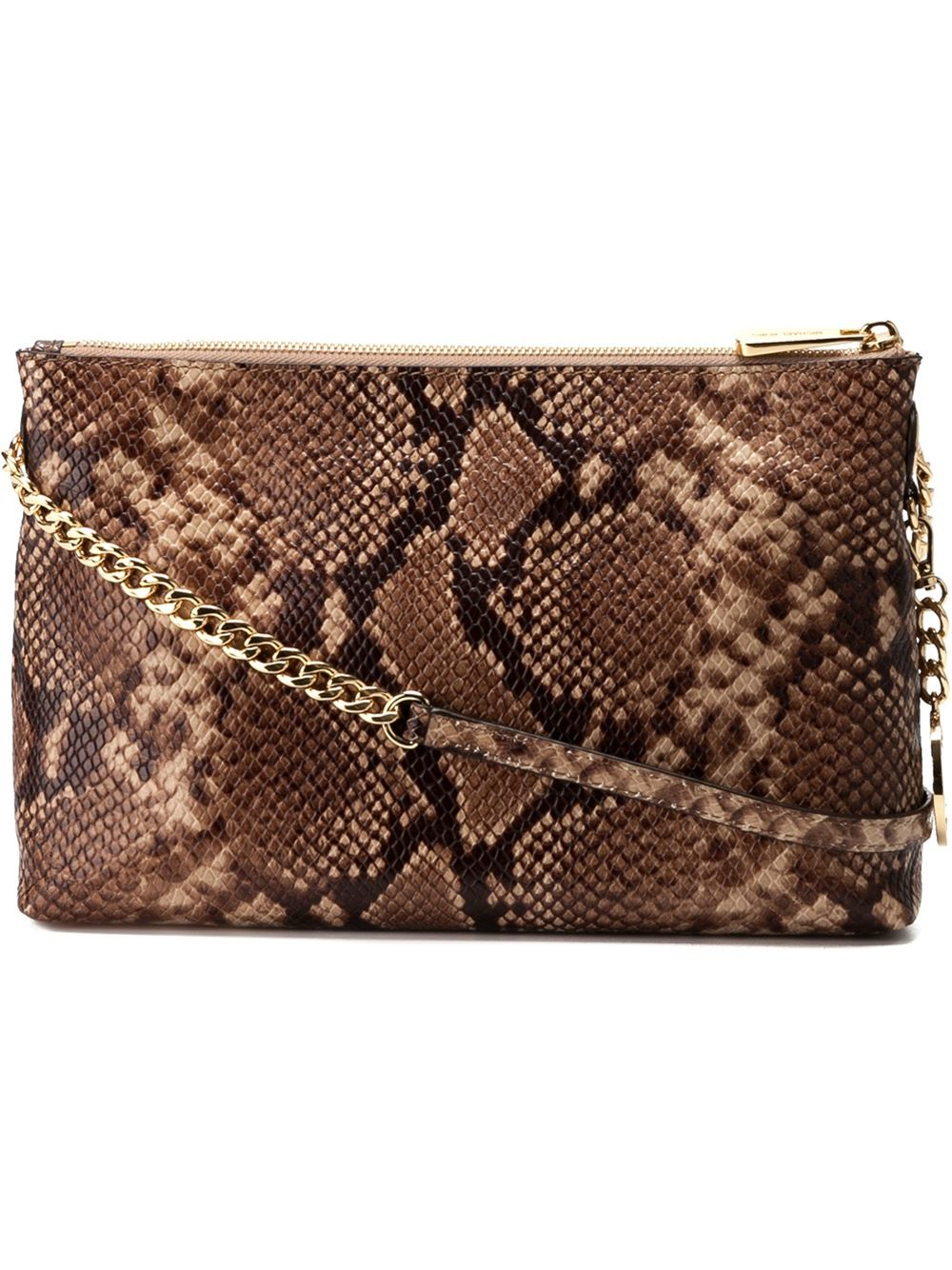 48995326c915 MICHAEL Michael Kors Snakeskin Effect Crossbody Bag in Brown - Lyst