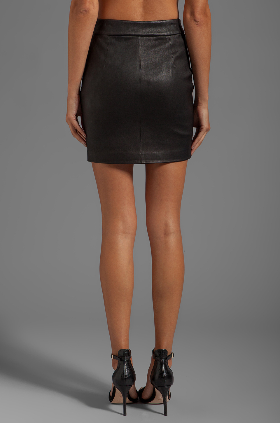 T by alexander wang Stretch Leather High Waisted Skirt in Black | Lyst