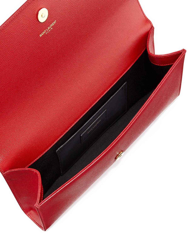 Lyst - Saint Laurent Cassandre Ysl-flap Leather Clutch Bag in Red 828b92ac50